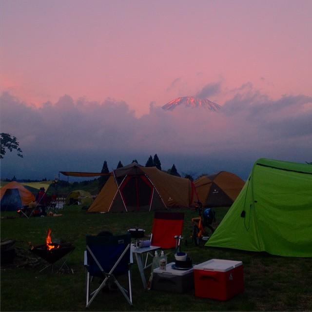 Pinky Mt. Fuji . Good day #fuji #camp #japan